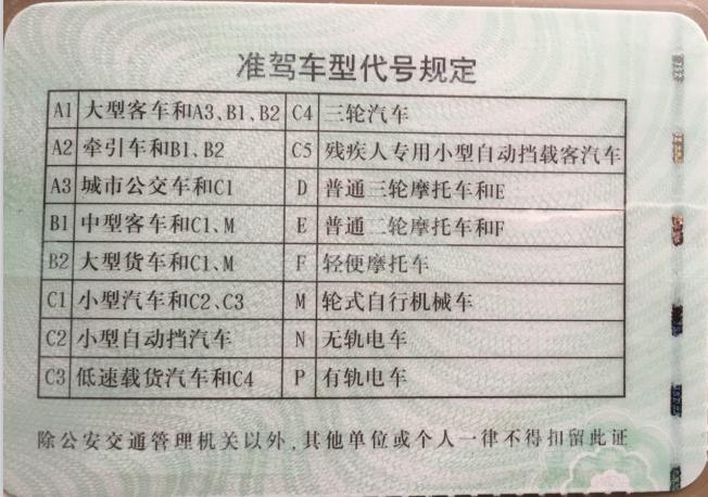 中国驾照背面