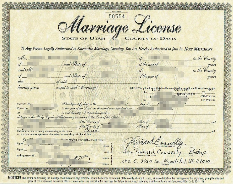 marriage license translation