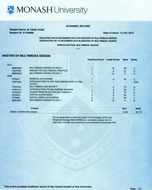 莫纳什大学成绩单