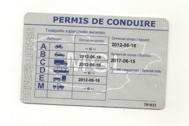 PERMIS DE CONDUIRE是什么意思?蒙古国驾照上的文字
