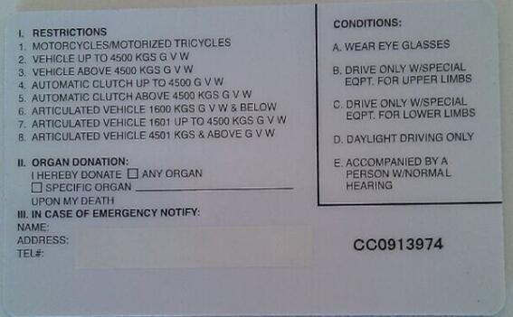 马来西亚驾驶执照背面
