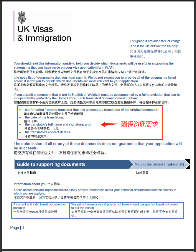 英国签证翻译要求